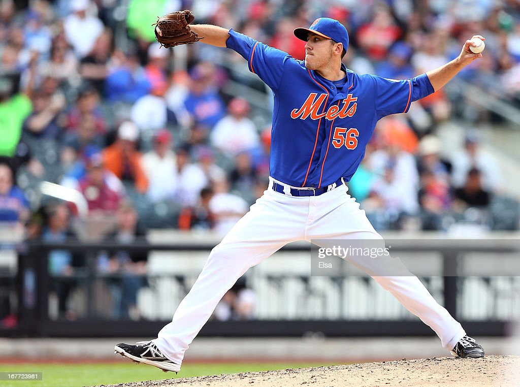 Scott Rice #56 of the New York Mets delivers a pitch in the eighth inning against the Philadelphia Phillies on April 28, 2013 at Citi Field in the Flushing neighborhood of the Queens borough of New York City.