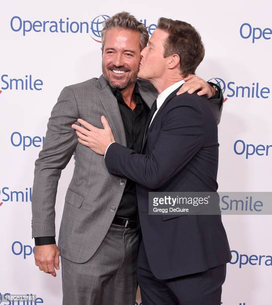 Scott Rigsby and Billy Bush arrive at Operation Smile's Hollywood Fight Night at The Beverly Hilton Hotel on November 6, 2019 in Beverly Hills,...