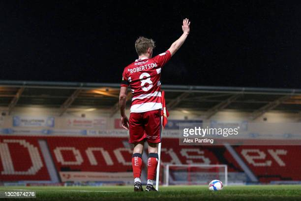 Scott Robertson of Doncaster Rovers takes a corner during the Sky Bet League One match between Doncaster Rovers and Accrington Stanley at Keepmoat...