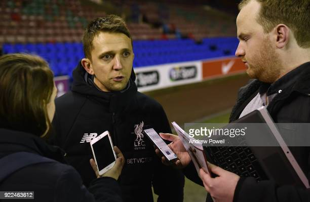 Scott Rodgers manager of Liverpool Ladies getting interviewed at the end of the FA WSL match between Liverpool Ladies and Sunderland Ladies at Select...