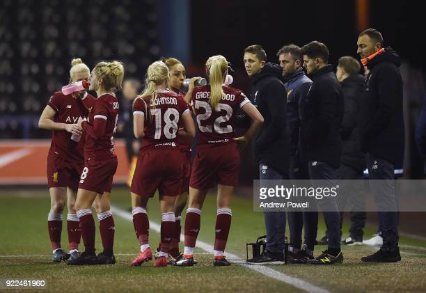 Scott Rodgers manager of Liverpool Ladies talking with his team during the FA WSL match between Liverpool Ladies and Sunderland Ladies at Select...