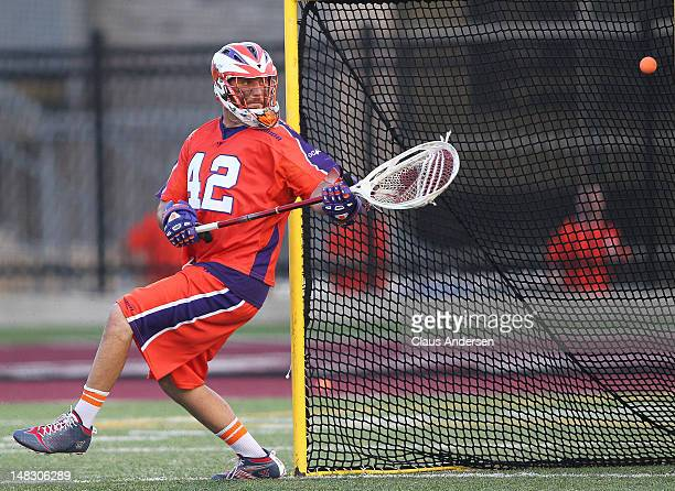 Scott Rodgers of the Hamilton Nationals lets a shot get by him against the Ohio Machine in a Major League Lacrosse game on July 13 2012 at Ron Joyce...
