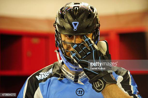 Scott Rodgers of the Ohio Machine prepares in the locker room prior to a game against the Charlotte Hounds at Selby Stadium on May 16 2015 in...