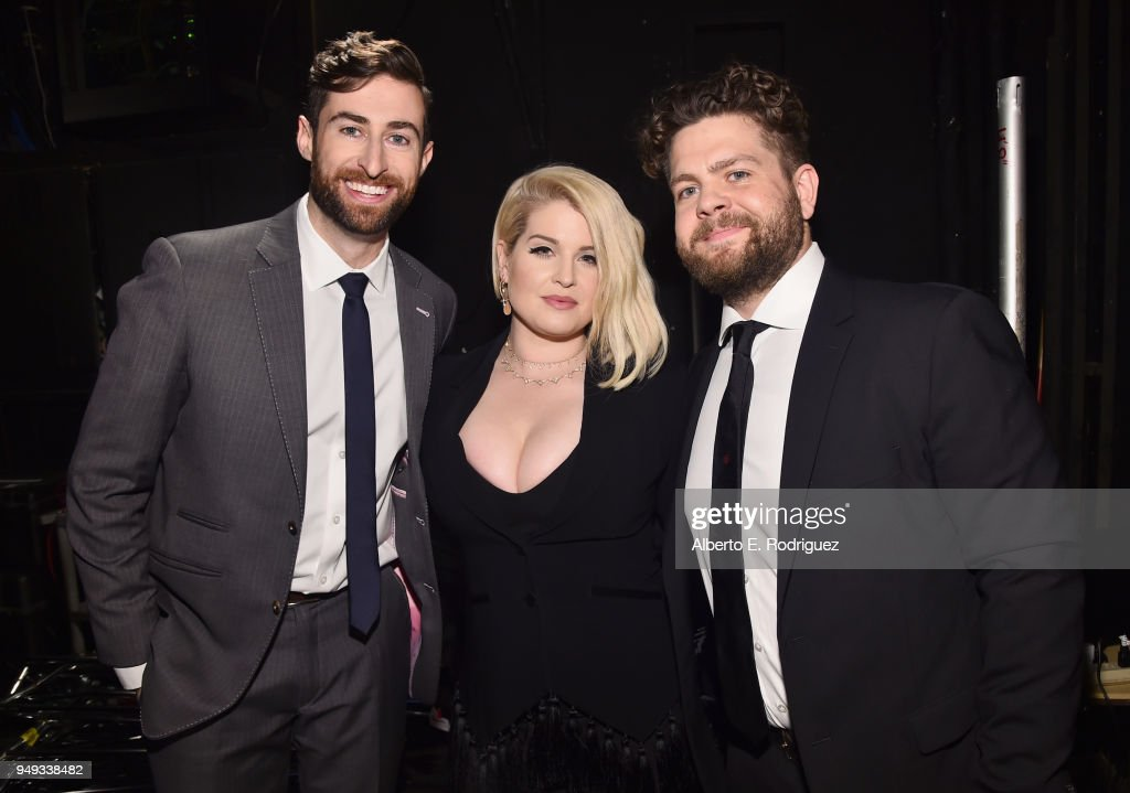 Scott Rogowsky, Kelly Osbourne and Jack Osbourne backstage at the 25th Annual Race To Erase MS Gala at The Beverly Hilton Hotel on April 20, 2018 in Beverly Hills, California.