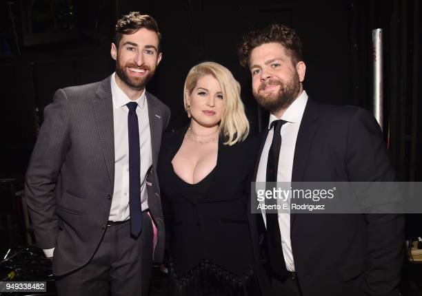 Scott Rogowsky Kelly Osbourne and Jack Osbourne backstage at the 25th Annual Race To Erase MS Gala at The Beverly Hilton Hotel on April 20 2018 in...