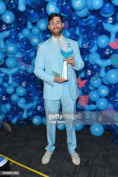 Scott Rogowsky poses with the award for Livestreamer of the Year during the 10th Annual Shorty Awards at PlayStation Theater on April 15 2018 in New...