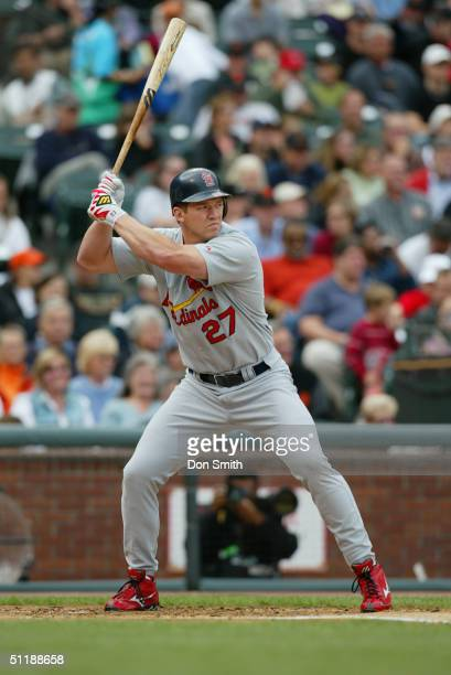 Scott Rolen of the St Louis Cardinals bats during the MLB game against the San Francisco Giants at SBC Park on August 1 2004 in San Francisco...
