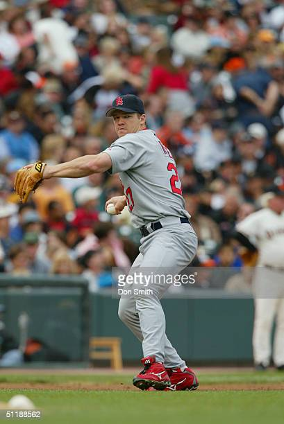 Scott Rolen of the St Louis Cardinals fields during the MLB game against the San Francisco Giants at SBC Park on August 1 2004 in San Francisco...