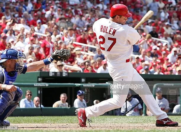 Scott Rolen of the St Louis Cardinals hits an RBI single to drive in the game winning run in the 10th inning against the Los Angeles Dodgers on July...