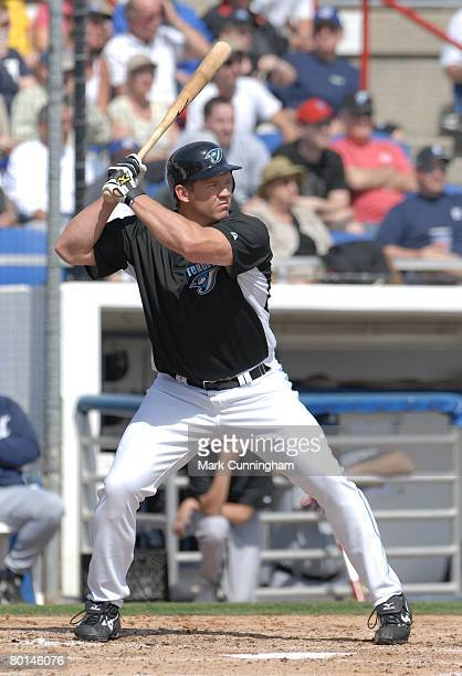 Scott Rolen of the Toronto Blue Jays bats during the spring training game against the Detroit Tigers at Knology Park in Dunedin Florida on February...