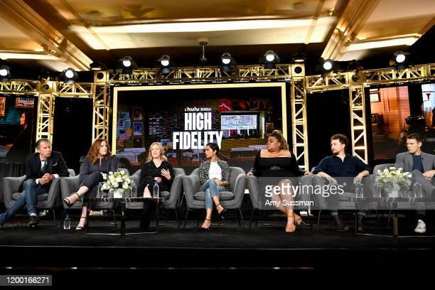 "Scott Rosenberg, Veronica West, Sarah Kucserka, Zoë Kravitz, Da'Vine Joy Randolph, David Holmes, and Jake Lacy of ""High Fidelity"" speak during the..."