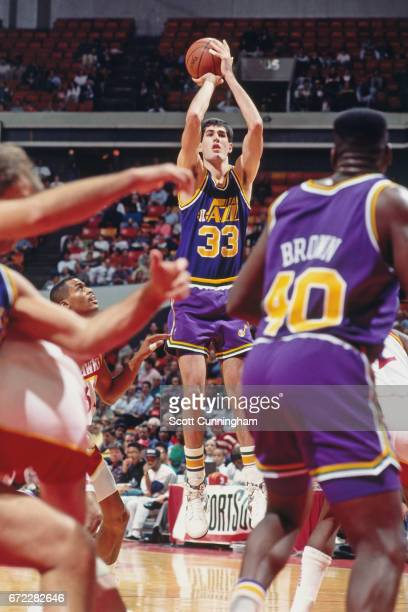 Scott Roth of the Utah Jazz shoots against the Atlanta Hawks during a game played circa 1990 at the Omni in Atlanta Georgia NOTE TO USER User...