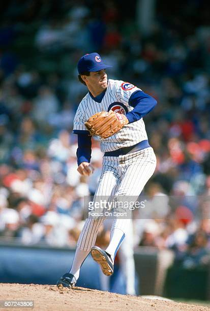 Scott Sanderson of the Chicago Cubs pitches during a Major League Baseball game circa 1989 at Wrigley Field in Chicago Illinois Sanderson played for...