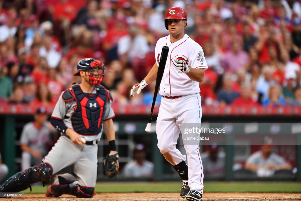 Scott Schebler #43 of the Cincinnati Reds reacts after striking out with two runners on base in the fourth inning against the Washington Nationals at Great American Ball Park on July 14, 2017 in Cincinnati, Ohio. Washington shut out Cincinnati 5-0.