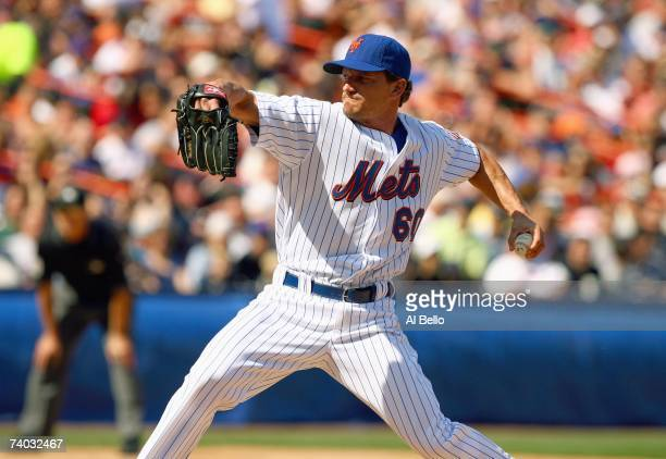 Scott Schoeneweis of the New York Mets delivers the pitch against the Atlanta Braves during the game at Shea Stadium on April 22 2007 in the Flushing...