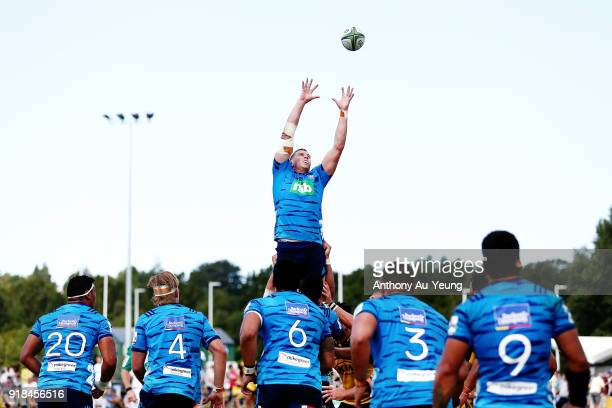 Scott Scrafton of the Blues competes at the lineout during the Super Rugby trial match between the Blues and the Hurricanes at Mahurangi Rugby Club...