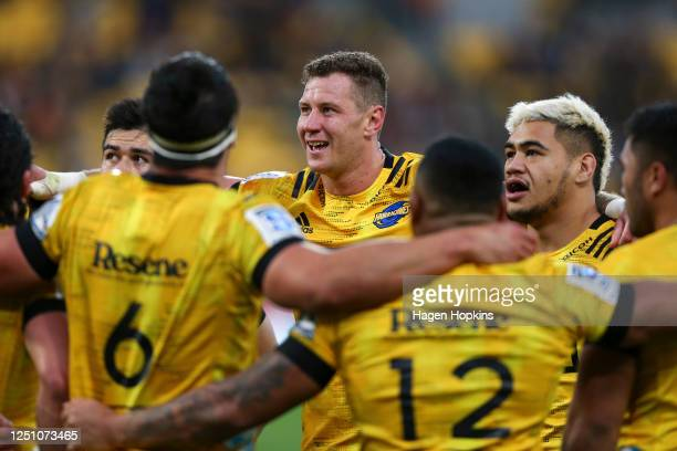Scott Scrafton of the Hurricanes looks on during the round 2 Super Rugby Aotearoa match between the Hurricanes and the Crusaders at Sky Stadium on...