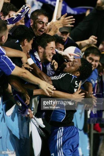 Scott Sealy of the San Jose Earthquakes celebrates with fans after scoring a goal against New England Revolution in the MLS game at Buck Shaw Stadium...