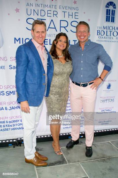 Scott Seltzer Sammie Seltzer and Chris Wragge attend An Intimate Evening Under The Stars With Michael Bolton at Private Residence on August 19 2017...