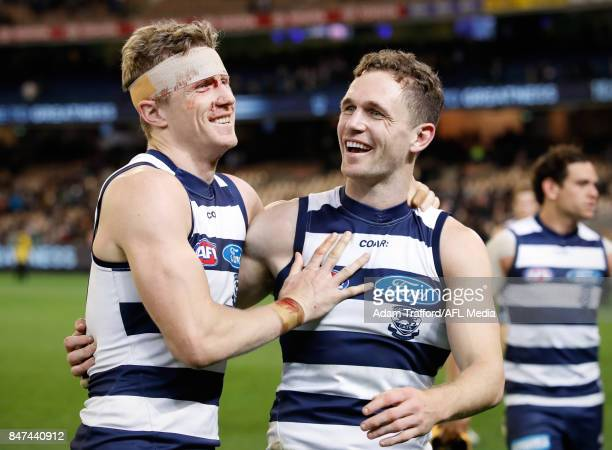 Scott Selwood of the Cats celebrates with his brother Joel Selwood of the Cats during the 2017 AFL Second Semi Final match between the Geelong Cats...