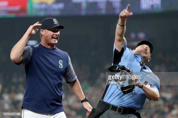 Scott Servais of the Seattle Mariners is tossed from the game after arguing a strike call against Dee Gordon of the Seattle Mariners in the eighth...