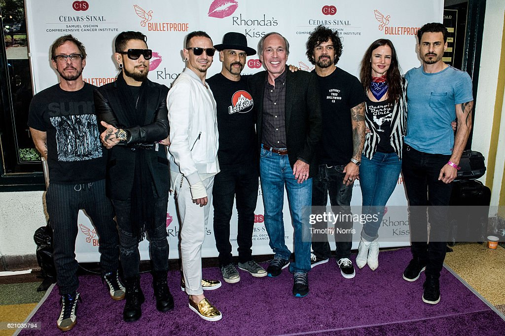 Scott Shriner, Dave Navarro, Chester Bennington, Dave Kushner, Marc Stefanski, Joey Castillo, Juliette Lewis and Brad Wilk attend Rhonda's Kiss at El Rey Theatre on November 3, 2016 in Los Angeles, California.