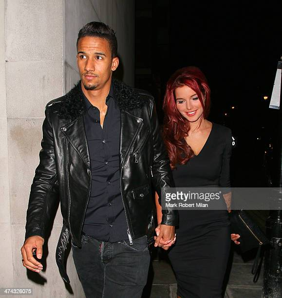 Scott Sinclair and Helen Flanagan at Zuma Restaurant for a belated Valentine's meal on February 22 2014 in London England