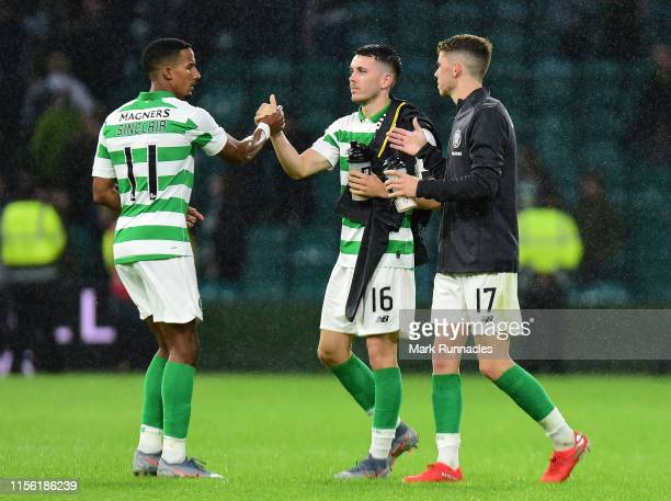 Scott Sinclair and Lewis Morgan of Celtic at the final whistle during the UEFA Champions League First Qualifying Round 2nd Leg match between Celtic...