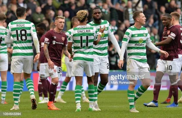 Scott Sinclair and Odsonne Edouard of Celtic celebrate at the final whistle during the Betfred Scottish League Cup Semi Final between Heart of...