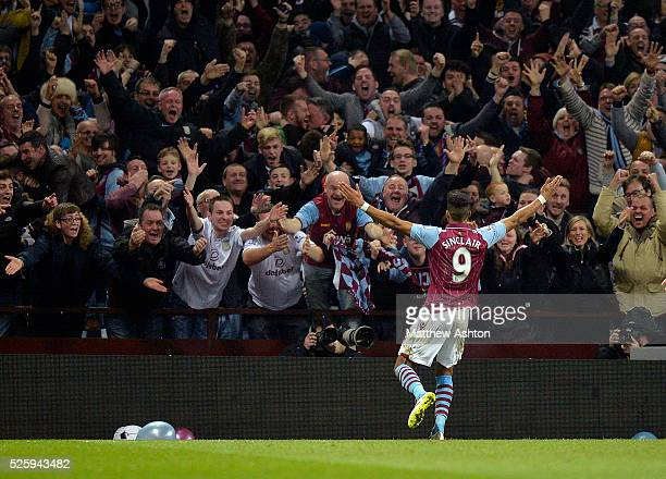 Scott Sinclair of Aston Villa celebrates after scoring a goal to make it 20