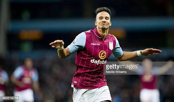 Scott Sinclair of Aston Villa celebrates his goal for Aston Villa during the FA Cup FA Cup Quarter Final match between Aston Villa and West Bromwich...