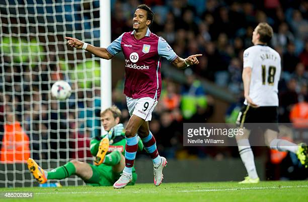 Scott Sinclair of Aston Villa celebrates his third goal for Aston Villa during the Capital One Cup Second Round match between Aston Villa and Notts...