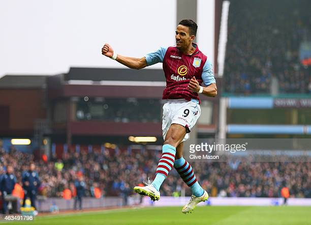 Scott Sinclair of Aston Villa celebrates scoring the second goal during the FA Cup fifth round match between Aston Villa and Leicester City at Villa...