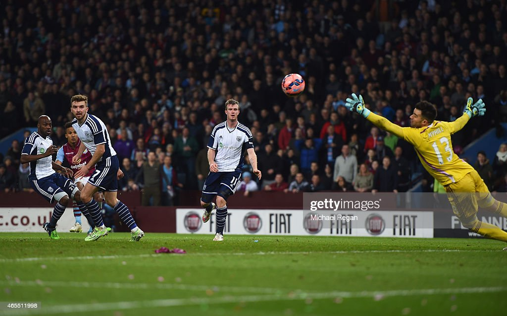 Scott Sinclair of Aston Villa (2L) scores their second goal past goalkeeper Boaz Myhill of West Bromwich Albion during the FA Cup Quarter Final match between Aston Villa and West Bromwich Albion at Villa Park on March 7, 2015 in Birmingham, England.