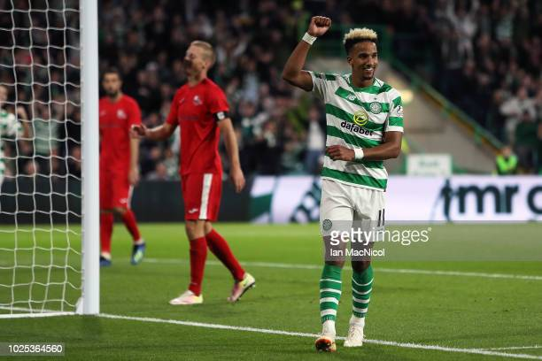 Scott Sinclair of Celtic acknowledges their third goal during the second leg of the UEFA Europa League Play Off between Celtic and Suduva at Celtic...