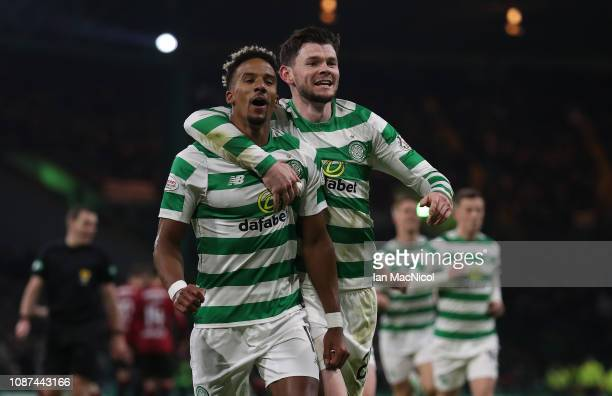 Scott Sinclair of Celtic celebrates after he scores his team's second goal during the Ladbrokes Scottish Premiership match between Celtic and St...