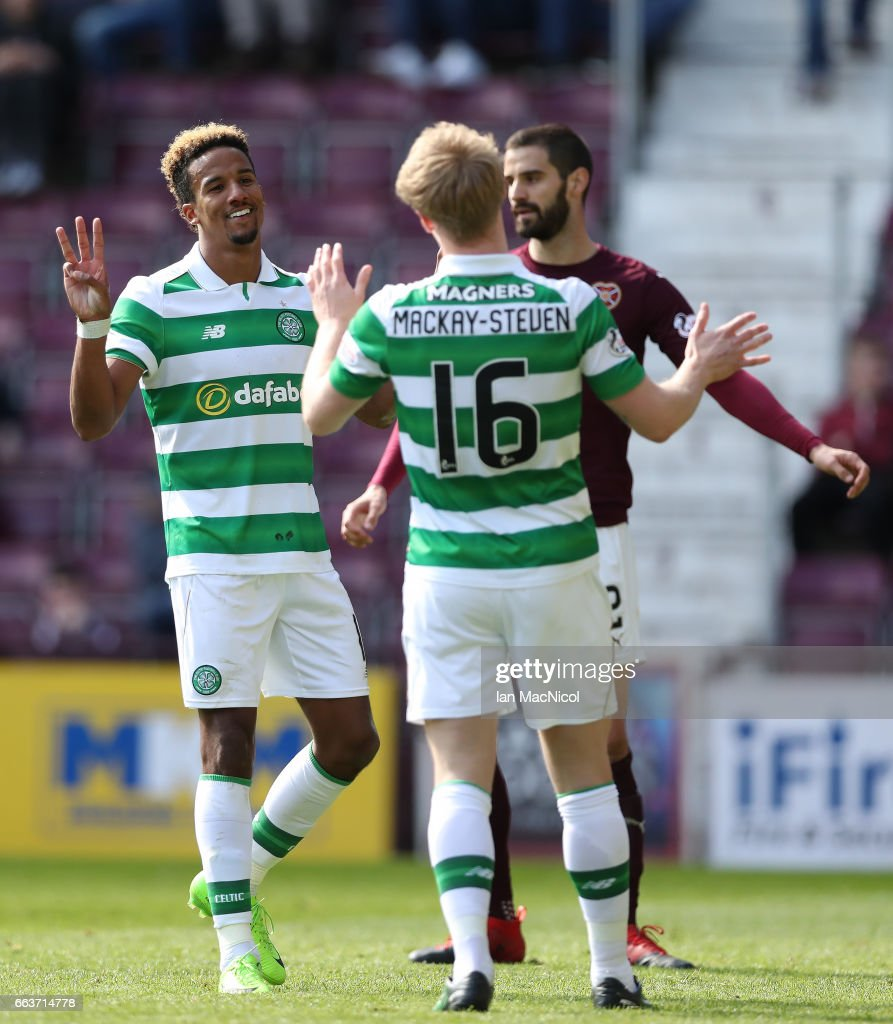 Scott Sinclair of Celtic celebrates after he scores his third goal from the penalty spot during the Ladbrokes Premiership match between Hearts and Celtic at Tynecastle Stadium on April 2, 2017 in Edinburgh, Scotland.