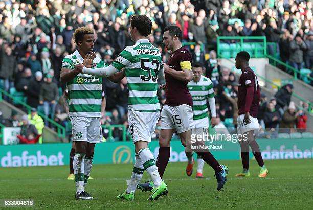 Scott Sinclair of Celtic celebrates after scores his team's fourth goal from the penalty spot during the Ladbrokes Scottish Premiership match between...