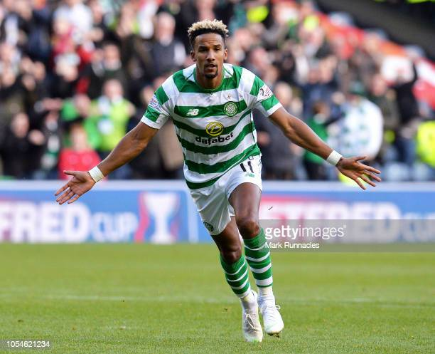 Scott Sinclair of Celtic celebrates after scoring his team's first goal from the penalty spot during the Betfred Scottish League Cup Semi Final...