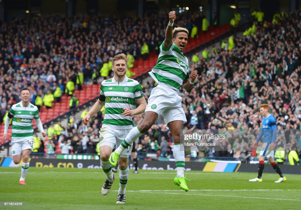 Scott Sinclair (R) of Celtic celebrates scoring his side's second goal during the Scottish Cup Semi-Final match between Celtic and Rangers at Hampden Park on April 23, 2017 in Glasgow, Scotland.
