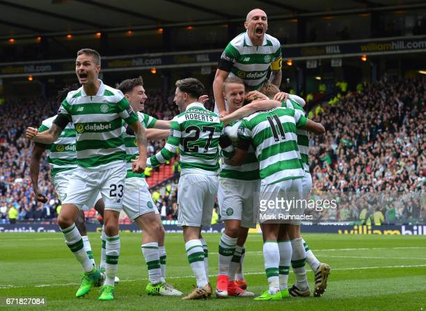 Scott Sinclair of Celtic celebrates scoring his side's second goal with his team mates during the Scottish Cup Semi-Final match between Celtic and...