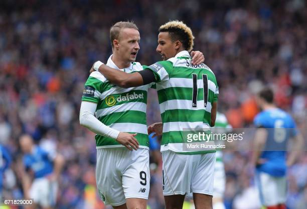Scott Sinclair of Celtic celebrates scoring his side's second goal with his team mate Leigh Griffiths during the Scottish Cup SemiFinal match between...