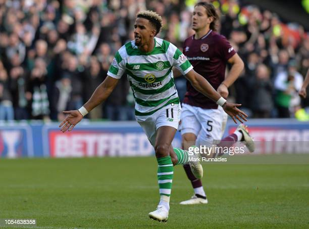 Scott Sinclair of Celtic celebrates scoring his teams first goal during the Betfred Scottish League Cup Semi Final between Heart of Midlothian FC and...