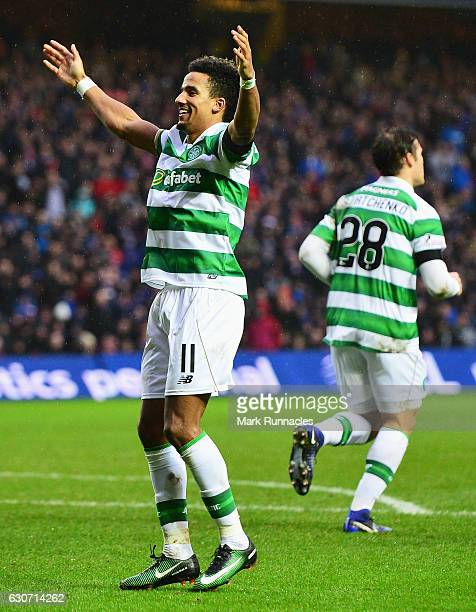 Scott Sinclair of Celtic celebrates scoring his team's second goal during the Ladbrokes Scottish Premiership match between Rangers and Celtic at...