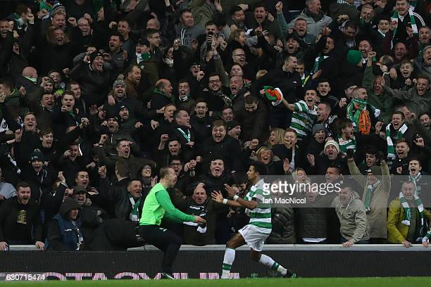 Scott Sinclair of Celtic celebrates scoring his team's second goal with his team mate Leigh Griffiths during the Ladbrokes Scottish Premiership match...