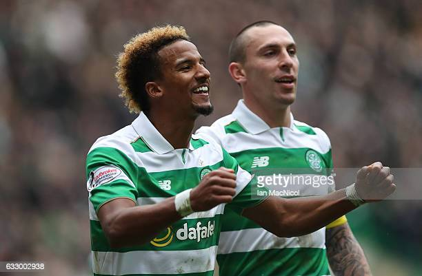 Scott Sinclair of Celtic celebrates with Scott Brown after he scores the second goal during the Ladbrokes Scottish Premiership match between Celtic...