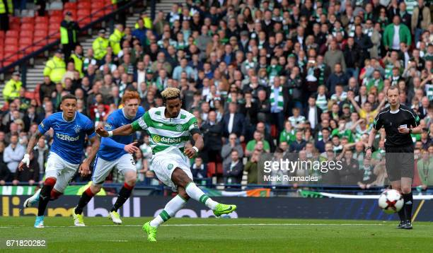 Scott Sinclair of Celtic converts the penalty to score his side's second goal during the Scottish Cup SemiFinal match between Celtic and Rangers at...