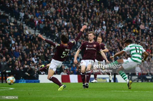 Scott Sinclair of Celtic has a shot on goal during the Scottish Cup Final between Heart of Midlothian FC and Celtic FC at Hampden Park on May 25 2019...
