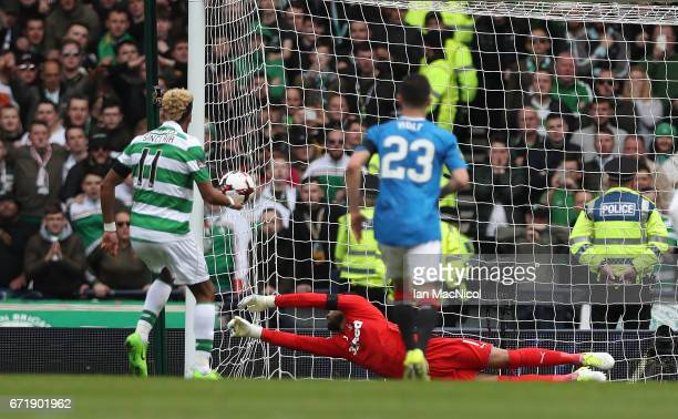 Scott Sinclair of Celtic scores a penalty during the William Hill Scottish Cup semifinal match between Celtic and Rangers at Hampden Park on April 23...