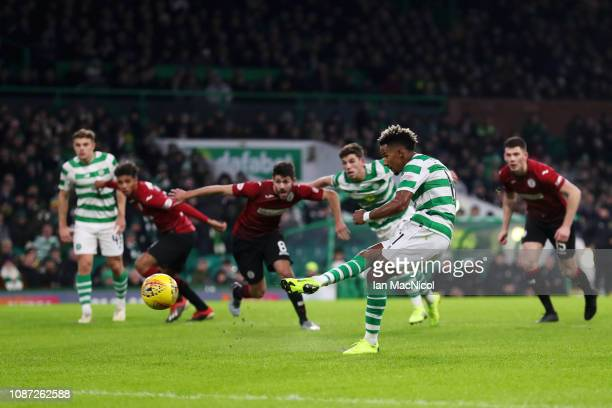 Scott Sinclair of Celtic scores his team's second goal from the penalty spot during the Ladbrokes Scottish Premiership match between Celtic and St...